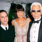 Karl Lagerfeld avec Helena Christensen et Marc Jacobs