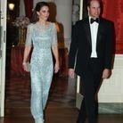 En robe Jenny Packham pour une réception chez l'ambassadeur de Grande-Bretagne