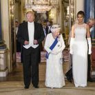Donald Trump, la reine d'Angleterre et Melania Trump