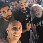 Adil Rami avec des amis à Los Angeles aux Studios Universal