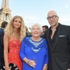 Line Renaud entre Pascal Obispo et sa femme Julie Hantson