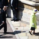 Le prince Philip et la reine d'Angleterre arrivent à la chapelle Saint-Georges