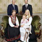 Le couple royal avec leur fils Haakon et sa femme Mette-Marit et leur fille