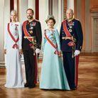 Le roi Harald et la reine Sonja avec le prince Haakon et son épouse Mette-Marit