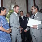 Meghan Markle et le prince Harry avec le roi du Maroc Mohammed VI