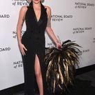 Lady Gaga en Ralph Lauren et boucles d'oreilles Messika
